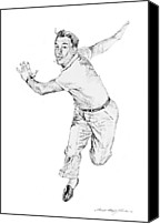 Pencil Drawings Drawings Canvas Prints - Gene Kelly Canvas Print by David Lloyd Glover