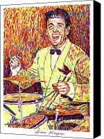 Featured Artist Canvas Prints - Gene Krupa the Drummer Canvas Print by David Lloyd Glover