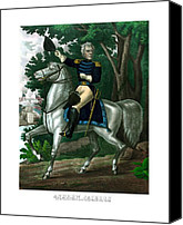 American History Mixed Media Canvas Prints - General Andrew Jackson On Horseback Canvas Print by War Is Hell Store