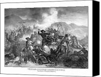 United States Drawings Canvas Prints - General Custers Death Struggle  Canvas Print by War Is Hell Store