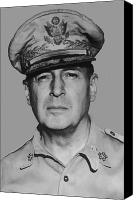 Moh Digital Art Canvas Prints - General Douglas MacArthur Canvas Print by War Is Hell Store