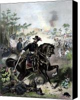 Civil War Painting Canvas Prints - General Grant During Battle Canvas Print by War Is Hell Store