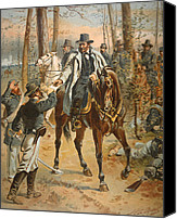 Military Uniform Painting Canvas Prints - General Grant in the Wilderness Campaign 5th May 1864 Canvas Print by Henry Alexander Ogden