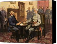Politician Canvas Prints - General Grant meets Robert E Lee  Canvas Print by English School