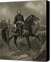 American Drawings Canvas Prints - General Grant On Horseback  Canvas Print by War Is Hell Store
