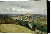 Hill Town Canvas Prints - General View of the Town of Saint Lo Canvas Print by Jean Corot
