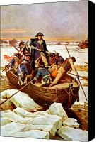 Father Painting Canvas Prints - General Washington Crossing The Delaware River Canvas Print by War Is Hell Store