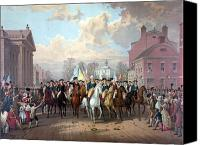 Founding Father Drawings Canvas Prints - General Washington Enters New York Canvas Print by War Is Hell Store
