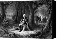 General Washington Drawings Canvas Prints - General Washington Praying At Valley Forge Canvas Print by War Is Hell Store