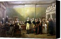 Father Painting Canvas Prints - General Washington Resigning His Commission Canvas Print by War Is Hell Store