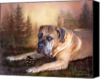 The Art Of Carol Cavalaris Mixed Media Canvas Prints - Gentle Ben Canvas Print by Carol Cavalaris