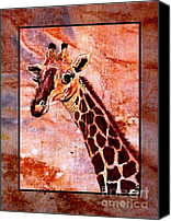 Wild Tapestries - Textiles Canvas Prints - Gentle Giraffe Canvas Print by Sylvie Heasman