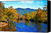 Susan Leggett Digital Art Canvas Prints - Gently Flowing River Canvas Print by Susan Leggett