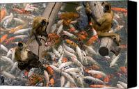 Henry Doorly Zoo Canvas Prints - Geoffreys Spider Monkeys With Koi Canvas Print by Joel Sartore