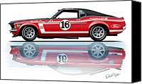 Boss Digital Art Canvas Prints - Geore Follmer Trans Am Mustang Canvas Print by David Kyte
