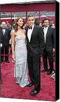 Academy Awards Oscars Canvas Prints - George Clooney, Sarah Larson Wearing Canvas Print by Everett