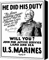 One Mixed Media Canvas Prints - George Dewey US Marines Canvas Print by War Is Hell Store