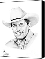 Country Music Canvas Prints - George Straight Canvas Print by Murphy Elliott