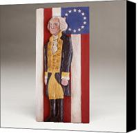 Folk Art Woodcarving Reliefs Canvas Prints - George Washington and the 13 Stars Canvas Print by James Neill