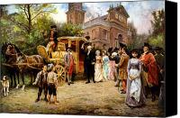 Father Painting Canvas Prints - George Washington arriving at Christ Church Canvas Print by War Is Hell Store