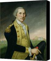 Colonial Man Painting Canvas Prints - George Washington at Princeton Canvas Print by Charles P Polk