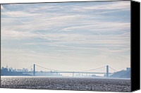 Bridge Crossing River Photo Canvas Prints - George Washington  Bridge Canvas Print by June Marie Sobrito