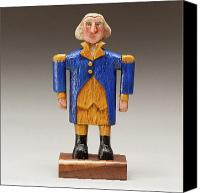 Woodcarving Sculpture Canvas Prints - George Washington Canvas Print by James Neill
