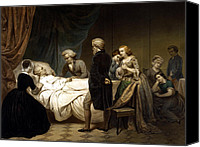 Continental Army Canvas Prints - George Washington On His Deathbed Canvas Print by War Is Hell Store