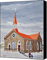 Quebec Painting Canvas Prints - Georgetown Presbyterian Church Canvas Print by Reb Frost