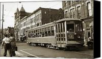 Trolley Canvas Prints - Georgetown Trolley E Market St Wilkes Barre PA by City Hall mid 1900s Canvas Print by Arthur Miller