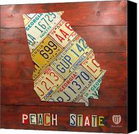 Transportation Mixed Media Canvas Prints - Georgia License Plate Map Canvas Print by Design Turnpike