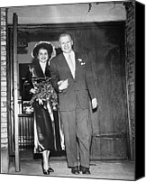 First Ladies Canvas Prints - Gerald And Betty Ford Walk Out Of Grace Canvas Print by Everett