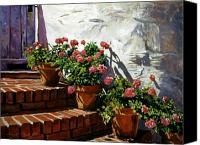 Impressionism Canvas Prints - Geranium Steps Canvas Print by David Lloyd Glover