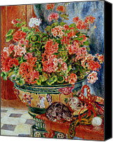 Chat Canvas Prints - Geraniums and Cats Canvas Print by Pierre Auguste Renoir