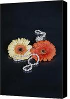 Jewellery Canvas Prints - Gerberas With Pearls Canvas Print by Joana Kruse