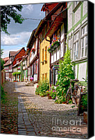 Old Houses Canvas Prints - German old village Quedlinburg Canvas Print by Heiko Koehrer-Wagner