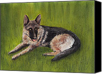 Pet Portrait Pastels Canvas Prints - German Shepherd Canvas Print by Anastasiya Malakhova