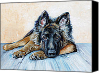Dog Painting Canvas Prints - German Shepherd Canvas Print by Enzie Shahmiri