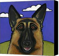 Dogs Canvas Prints - German Shepherd Canvas Print by Leanne Wilkes
