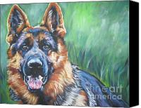 Alsatian Canvas Prints - German Shepherd Canvas Print by Lee Ann Shepard