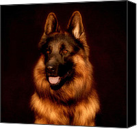 Alsatian Canvas Prints - German Shepherd Portrait Canvas Print by Sandy Keeton