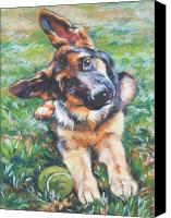 Tennis Canvas Prints - German shepherd pup with ball Canvas Print by L A Shepard