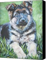 Alsatian Canvas Prints - German Shepherd Puppy Canvas Print by Lee Ann Shepard