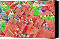 Fun Houses Canvas Prints - German Town Canvas Print by Sabine Jacobs