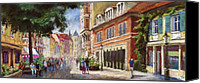 Old Pastels Canvas Prints - Germany Baden-Baden Lange Str Canvas Print by Yuriy  Shevchuk