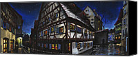Featured Pastels Canvas Prints - Germany Ulm Fischer Viertel Schwor-Haus Canvas Print by Yuriy  Shevchuk