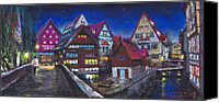 Old Pastels Canvas Prints - Germany Ulm Fischer Viertel Canvas Print by Yuriy  Shevchuk