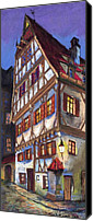 Old Pastels Canvas Prints - Germany Ulm Old Street Canvas Print by Yuriy  Shevchuk