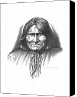 Pencil Drawings Drawings Canvas Prints - Geronimo Canvas Print by Lee Updike
