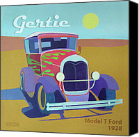 Antique Automobiles Digital Art Canvas Prints - Gertie Model T Canvas Print by Evie Cook